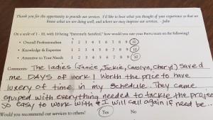 Cathy comment card